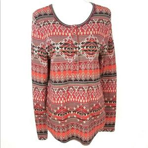 Lucky Brand Aztec Long Sleeve Shirt Thermal Top XL